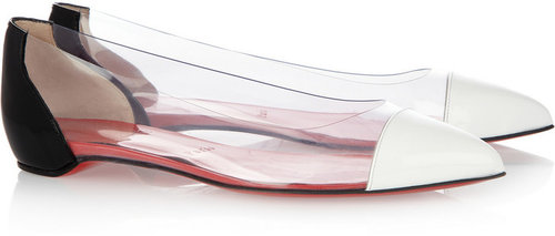 Christian Louboutin Corbeau PVC and patent-leather flats