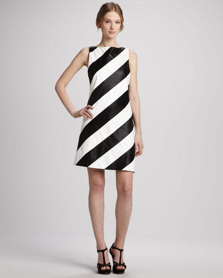 Alice + Olivia Paige Striped Leather Shift Dress