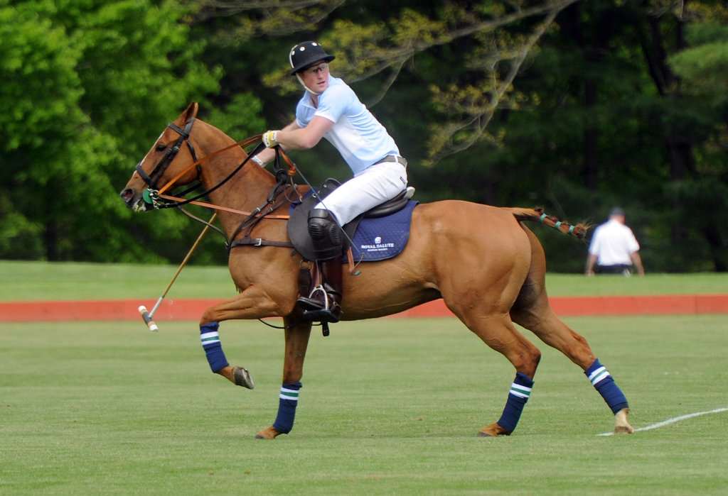 Prince Harry played in a charity polo match on Wednesday in Connecticut.