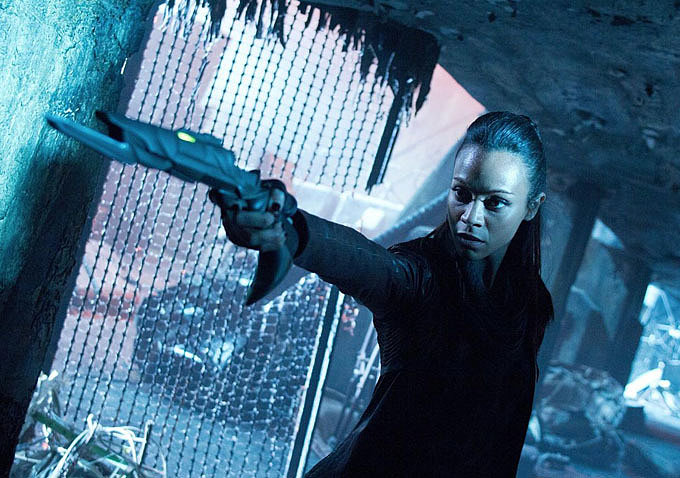 Zoe Saldana as Uhura Whether you're a Trekkie or not, we can probably all agree that Zoe Saldana makes for one badass member of the Enterprise in Star Trek Into Darkness.