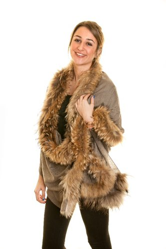 Fine-Pashmina Shawl with Taupe Silver Fox Fur