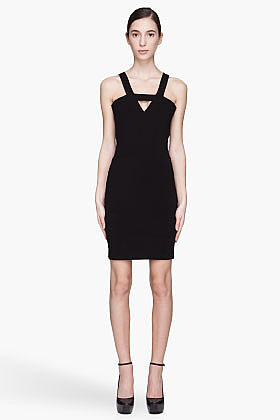 MUGLER Black Stretch Jersey Cut Out Dress