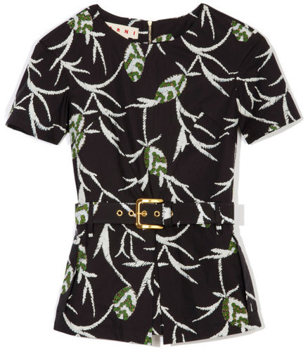 Marni Coal Pop Structure Floral Top