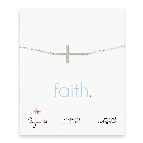 faith large cross bracelet, sterling silver