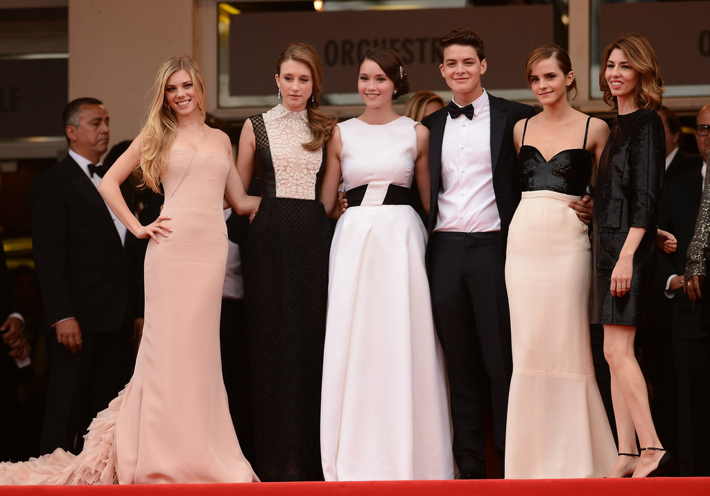 Coordinated castmates: Claire Julien, in a custom blush Emilio Pucci gown, posed alongside Taissa Farmiga in a cream-and-black gown and Katie Chang in Dior as well as Israel Broussard, Emma Watson, and Sofia Coppola at the Bling Ring premiere. They made quite a stylish set.