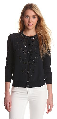 Jones New York Women's 3/4 Sleeve Embellished Cardigan