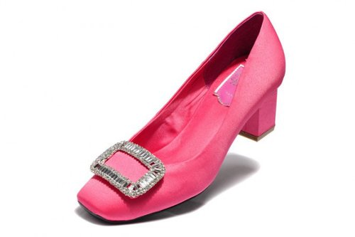 ROGER VIVIER ROSE DECOLLETE BELLE VIVIER SILK PUMPS