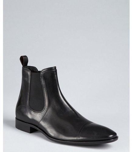 Hugo Boss Boss Hugo Boss black leather pull tab gusset side boots