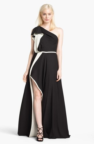Halston Heritage Ruffled One Shoulder Gown