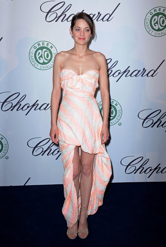 Marion Cotillard wore a striped frock when she attended a Chopard luncheon on Friday.