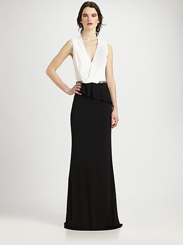 David Meister Two-Tone Jersey Gown