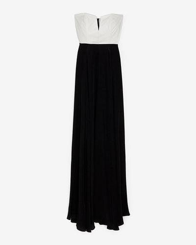 Mason By Michelle Mason Mason Exclusive Leather Corset Silk Maxi Dress