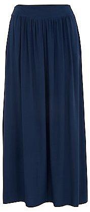 Inspire Navy Shirred Maxi Skirt