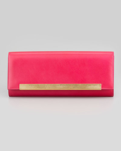 Saint Laurent Lutetia Flap Clutch Bag, Pink