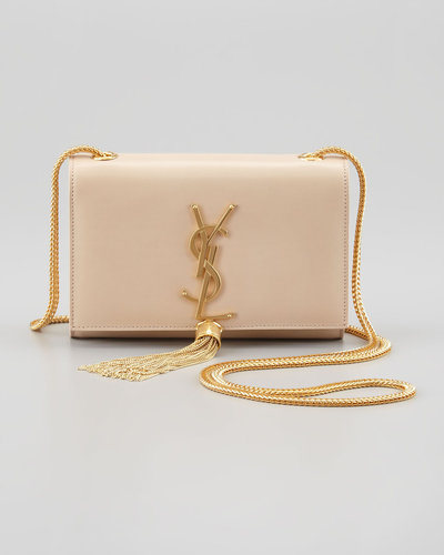 Saint Laurent Cassandre Small Tassel Crossbody Bag, Off White