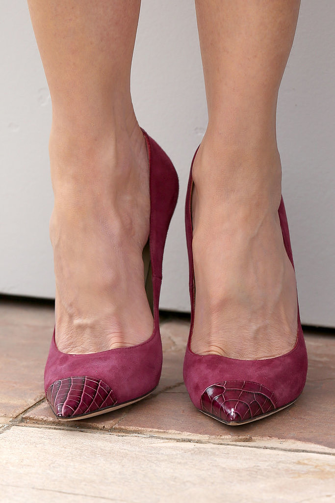Nicole Kidman wore magenta capped Jimmy Choo pumps.