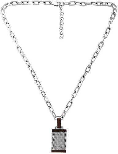 Emporio Armani Men's Necklace, Stainless Steel and Brown Leather Dog Tag EGS1384040