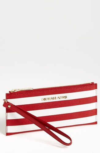 MICHAEL Michael Kors 'Small' Stripe Zip Clutch