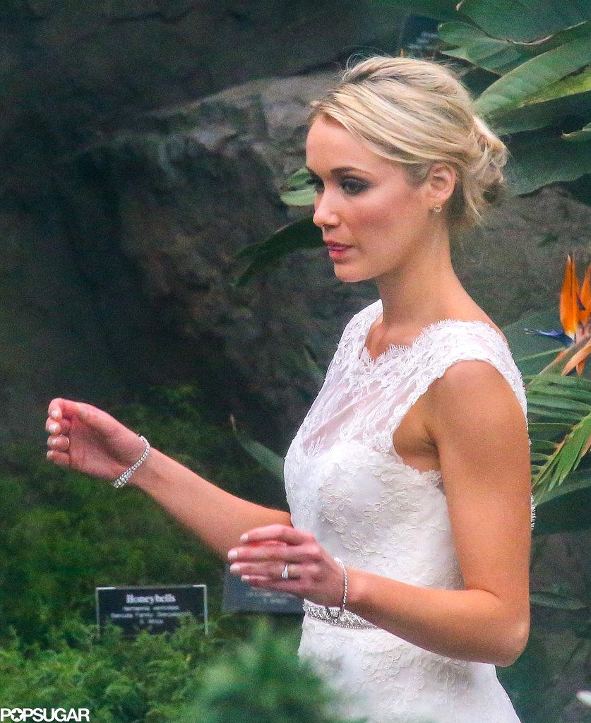 Katrina Bowden wore a white wedding dress for her nuptials with Ben Jorgensen.