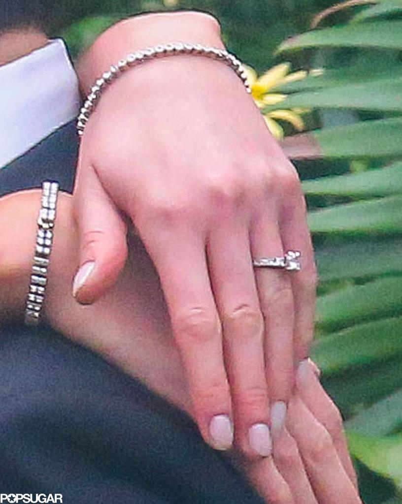 Katrina Bowden and Ben Jorgensen showed off their wedding rings.