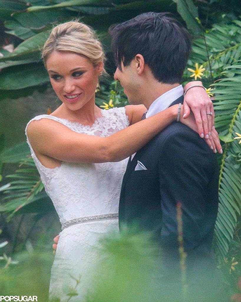Katrina Bowden shared an embrace with Ben Jorgensen at their wedding.
