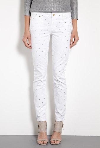 MICHAEL Michael Kors White Studded Skinny Jeans