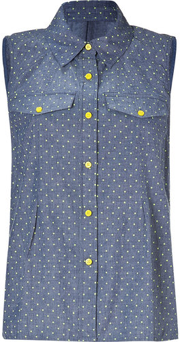 Marc by Marc Jacobs Indigo/Multi Cotton Dotty Chambray Top