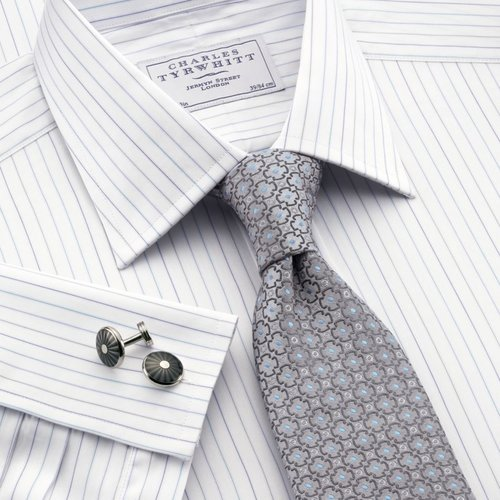 Blue, green & grey fine stripe classic fit dress shirt