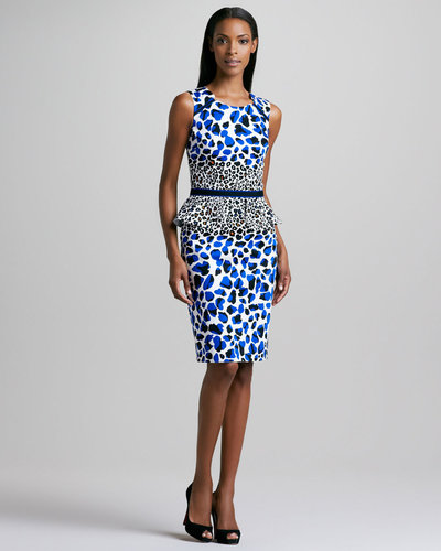 David Meister Animal-Print Peplum Dress