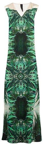 Twisty Parallel Universe leaf print maxi dress