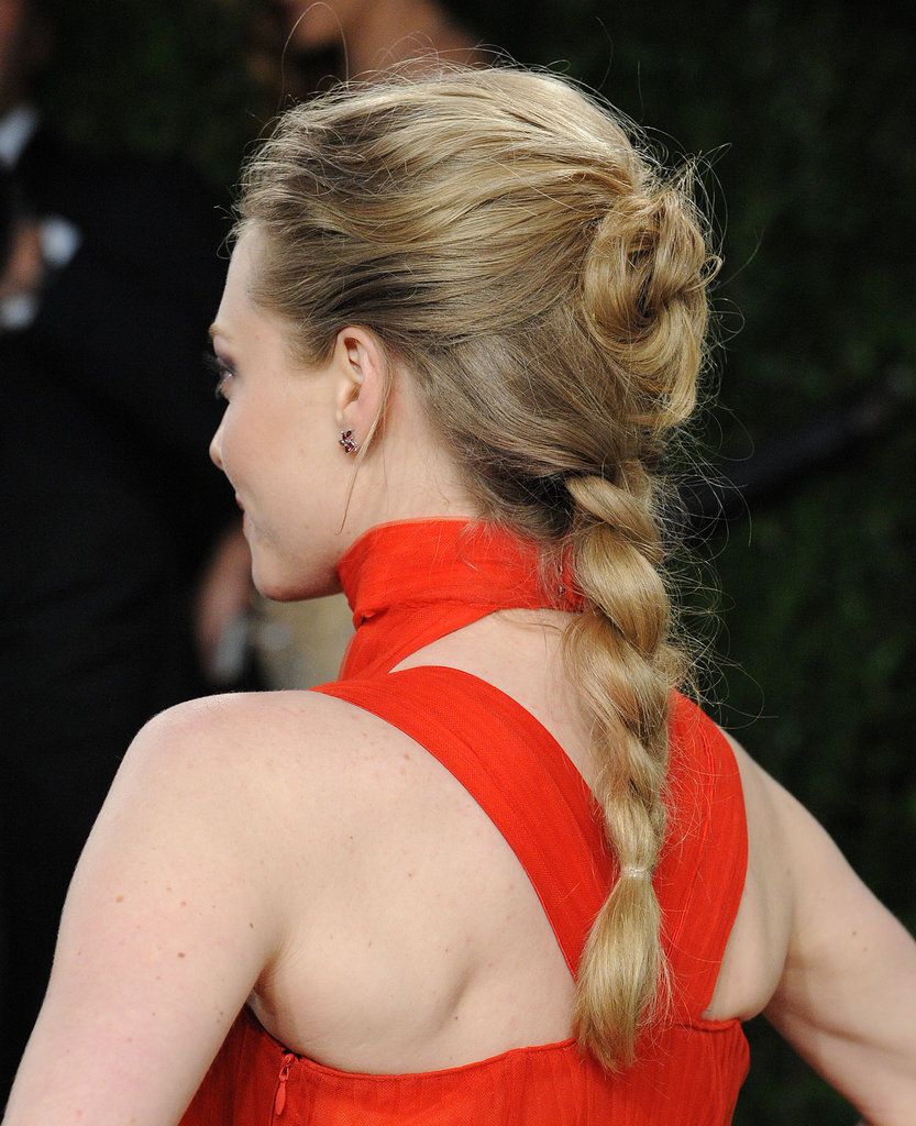 Amanda Seyfried's bun/braid hybrid was almost a dead-ringer for the braided styles at Rodarte's Fall 2013 show.