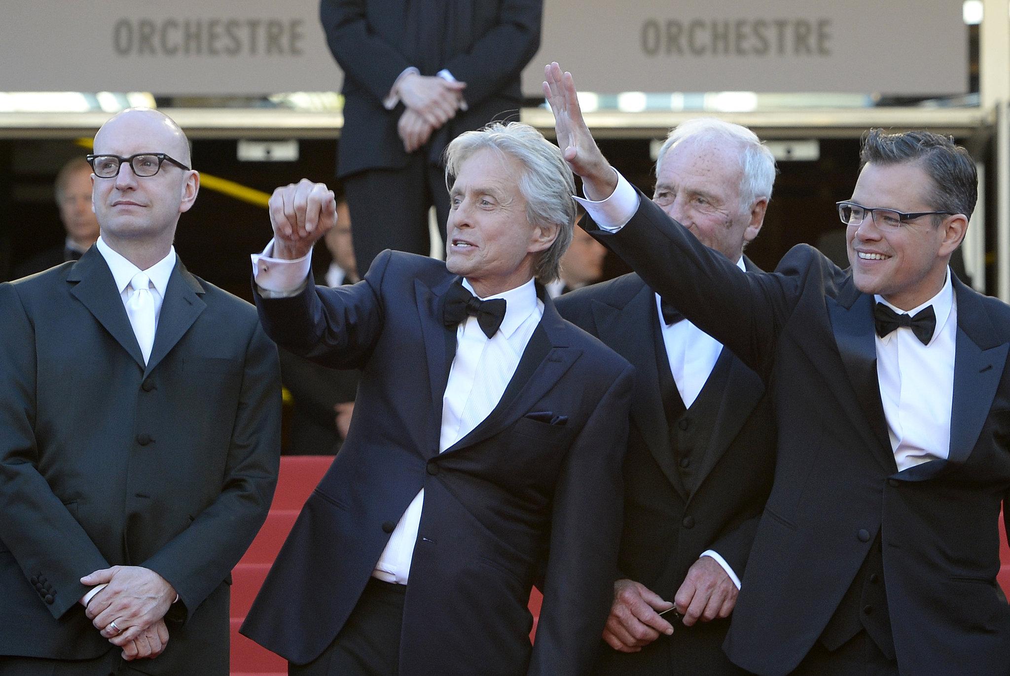 Matt Damon and Michael Douglas waved to the crowd.
