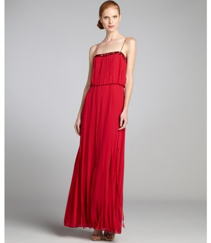 Aidan Mattox ruby chiffon 'Carwash' jeweled spaghetti strap gown