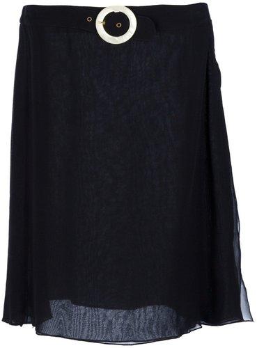 Valentino Vintage belted silk skirt