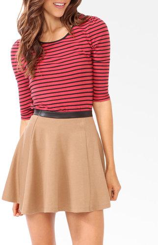FOREVER 21 Striped Shirred Shoulder Top