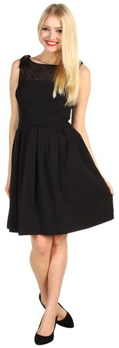 Tahari by ASL - Jacklee Faille Cocktail w/Full Skirt and Bows Dress (Black) - Apparel