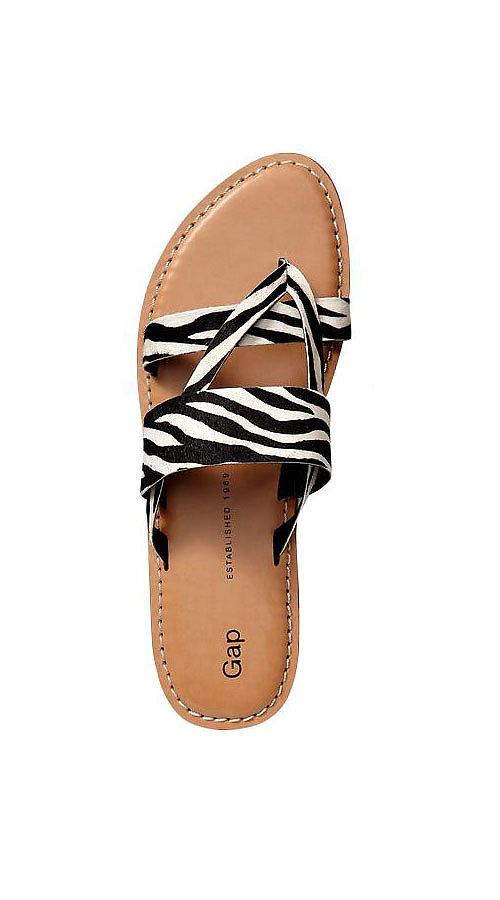 Take a walk on the wild side with Gap's zebra-print slides ($40).