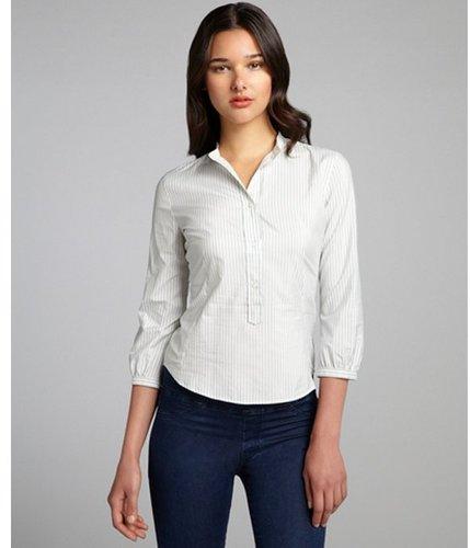 Loro Piana pale pistachio striped silk-cotton blend mandarin collar blouse