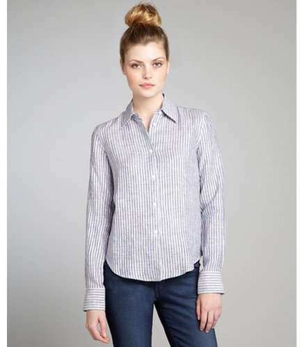 Loro Piana grey and white striped linen button front shirt