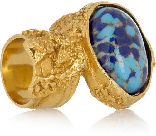 Saint Laurent Arty gold-plated glass ring
