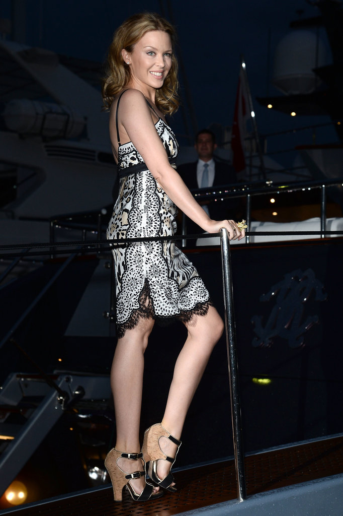 Kylie Minogue struck a pose before heading to Roberto Cavalli's yacht party in Cannes on Wednesday evening.