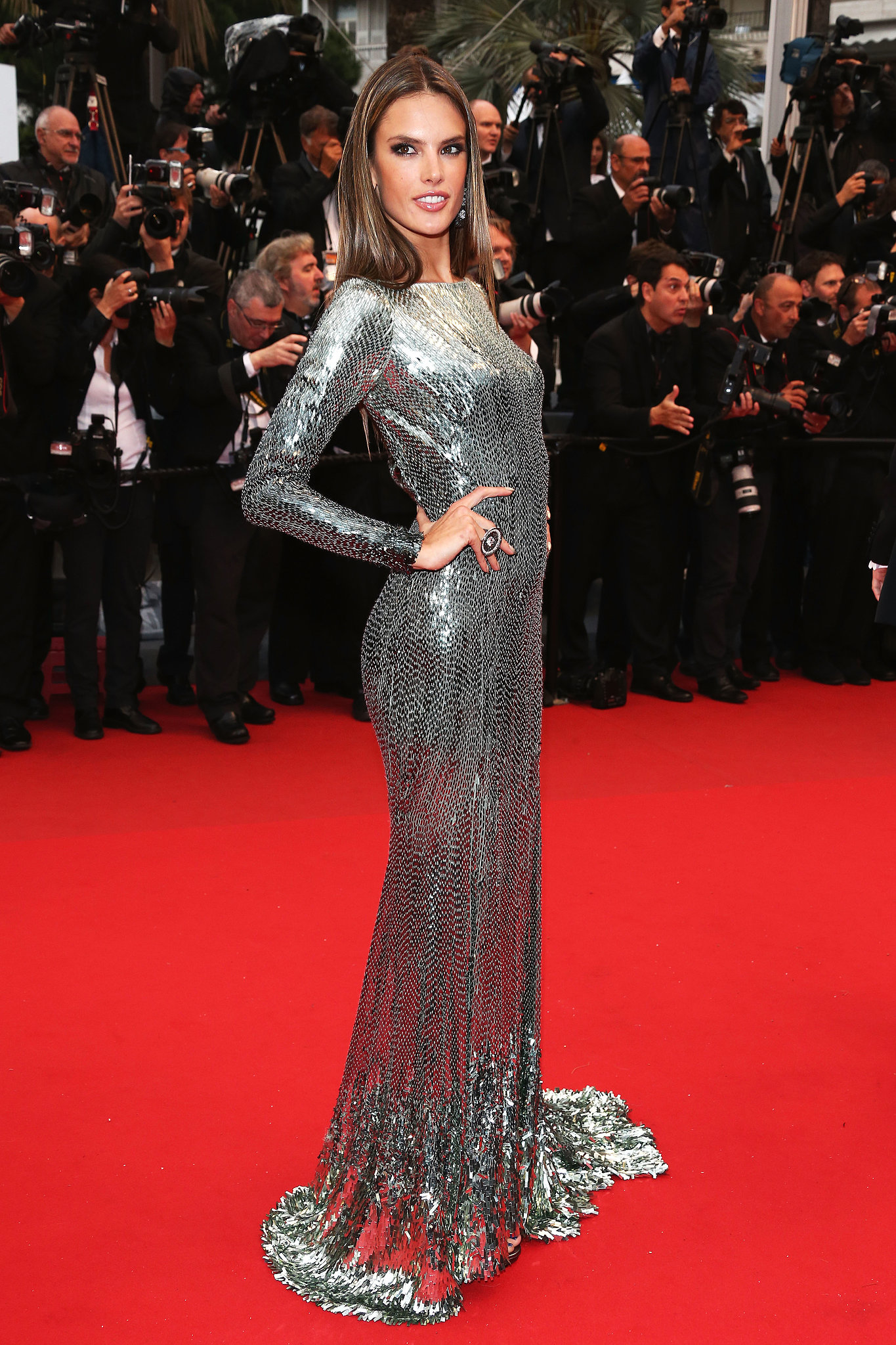 Alessandra Ambrosio donned a metallic sequined number for Wednesday's All Is Lost premiere in Cannes.