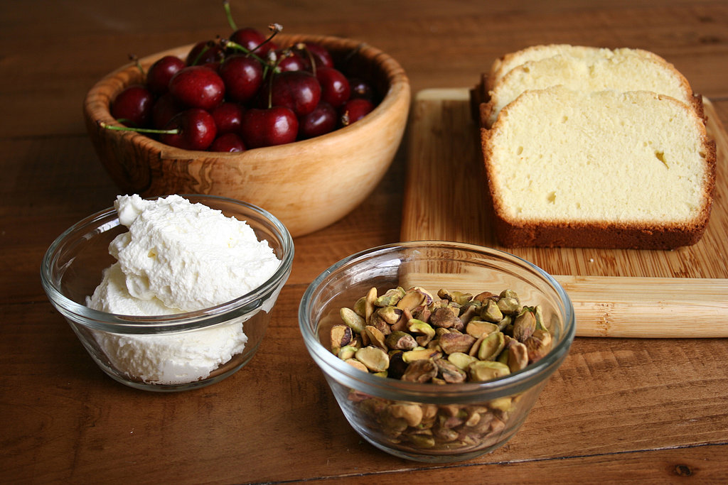 Pound Cake With Pistachios, Cherries, and Rose Whipped Cream