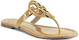 Tory Burch - Miller - Sand Patent Logo Thong Sandal