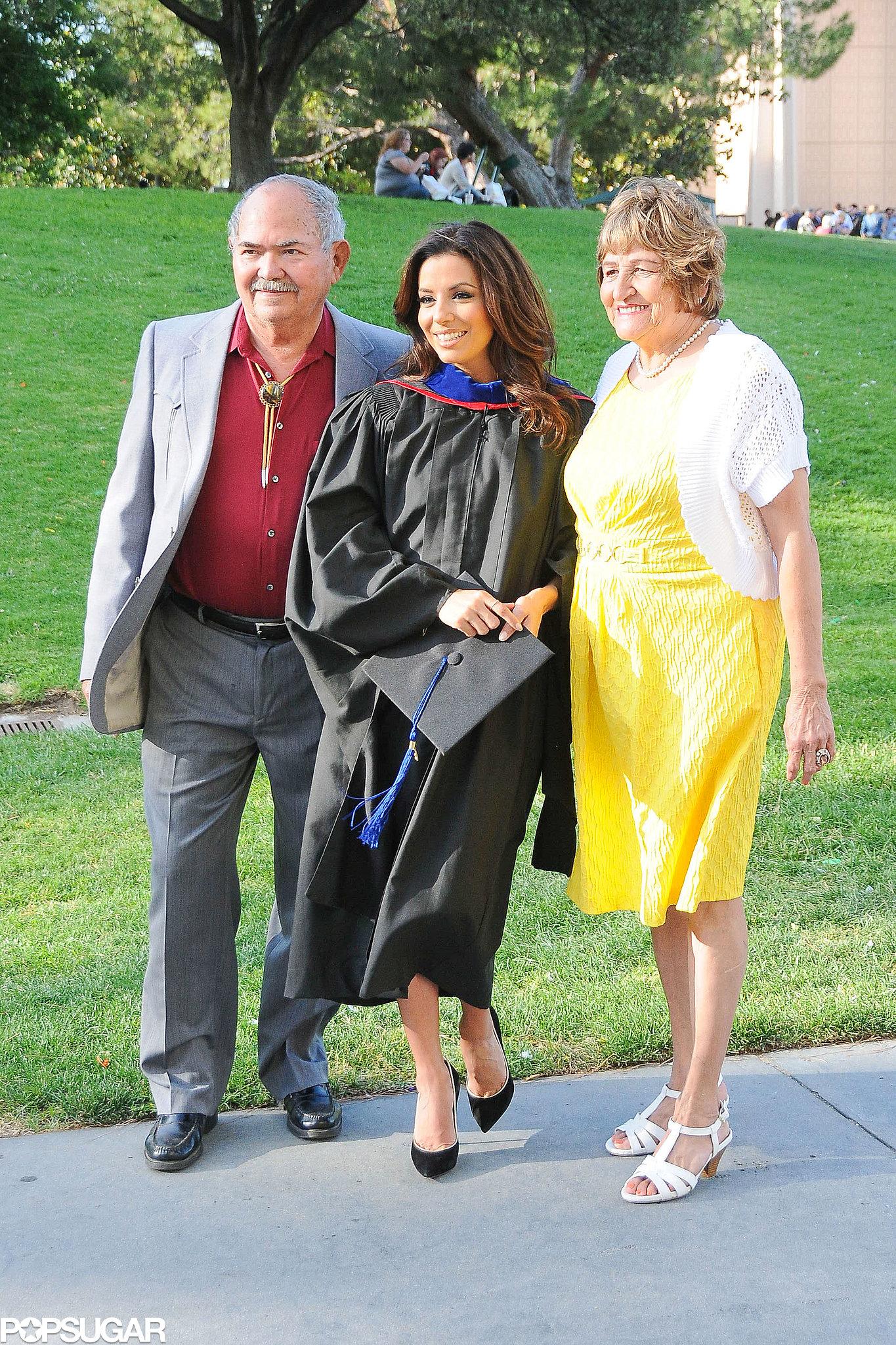 Eva Longoria had the support of her parents at her graduation.