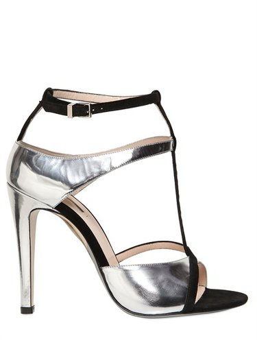 100mm Metallic Leather And Suede Sandals
