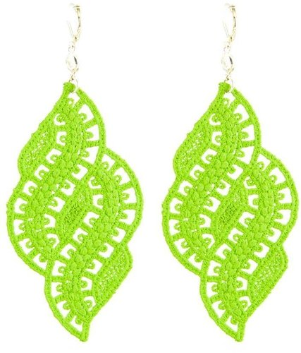 Foglia neon green lace earrings