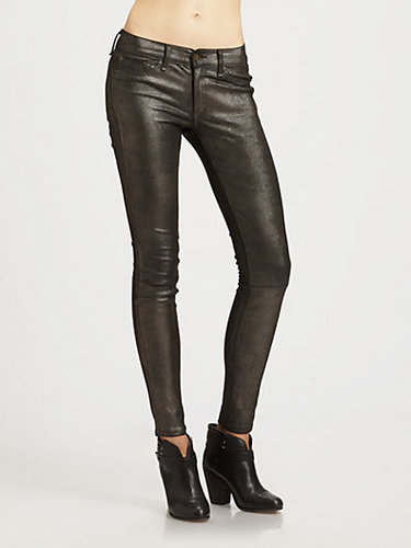 rag & bone/JEAN Skinny Leather Jeans/Anthracite