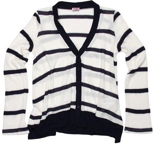 Splendid Littles - Harbor Stripe Loose Knit Cardigan (Big Kids) (White) - Apparel