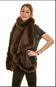 Pashmina Shawl with Chocolate Fox Fur